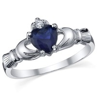 Sterling Silver 925 Irish Claddagh Friendship & Love Simulated Sapphire Blue Heart CZ Cubic Zirconia Ring