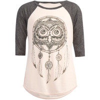 Full Tilt Owl Dreamcatcher Girls Baseball Tee Pink Combo  In Sizes