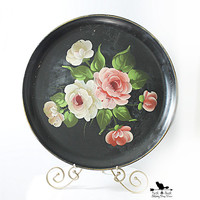 Large Round Floral Toleware Tray, Vintage Toleware Tray, Hand Painted Folk Art Tray, Shabby Chic Decor