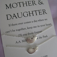 Mother Daughter Jewelry. Mother Daughter Necklace // Mother Daughter // All STERLING BIRD Necklaces // Simple Delicate Sterling Silver