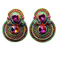 BUBBLES soutache ear clips in purple, orange, green and turquoise (free international shipping)