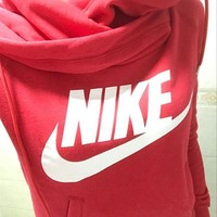 NIKE Fashion casual  Letter Print Pullover Long Sleeve Sweater Red G