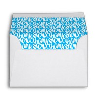 Blue and White Thank You Lettering Pattern Envelope
