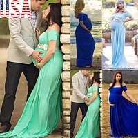 Couple maternity photography props maxi Maternity gown Floral Dress Fancy shooting photo Spring Autumn pregnant dress Plus Size