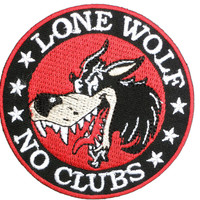 "LONE WOLF NO CLUBS Biker Iron On Embroidered Patch 3""/7.8cm"