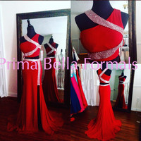 Jovani 28596 In Stock Red Size 2 Jeweled Two Piece Jersey Prom Dress
