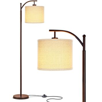 Brightech Montage - Bedroom & Living Room Floor Lamp - Reading Standing Light with Arc Hanging Shade - Indoor, Tall Pole Lamp for Office - Suits Mid Century Modern & Farmhouse - with LED Bulb - Bronze Oil Rubbed Bronze