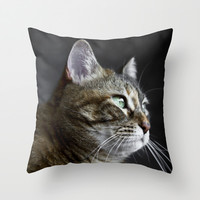 Cat portrait  Throw Pillow by VanessaGF