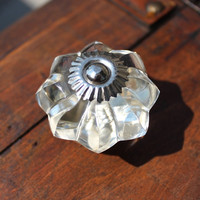 Glass Melon Drawer Knob Clear and Silver toned Hardware (CK41)