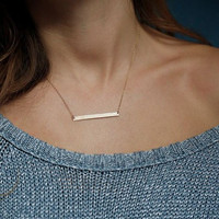 Minimalist gold bar necklace, simple bar necklace, chic everyday necklace, dainty gold pendant
