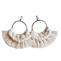 Boho Cream Macrame Earrings