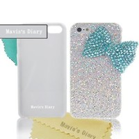 Mavis's Diary Bling Handmade 3D Stylish Big Bow Shining Back Case Cover for Apple Iphone 5 5S with Soft Clean Cloth (Turquoise Bow Silver Case)