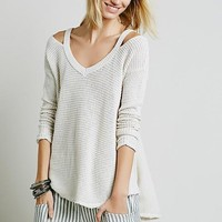 White Plain Cut Out V-neck Pullover Sweater