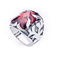 Flame with red zirconia stone sterling silver ring