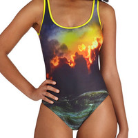 ModCloth Tank top (2 thick straps) Off to the Ocean One-Piece Swimsuit in Sunset