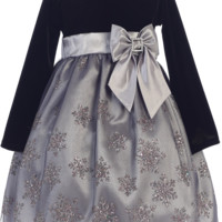 Silver Snowflake Girls Holiday Dress w. Long Sleeve Velvet 3m-10