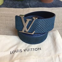 AUTH LOUIS VUITTON MENS BELT DAMIER EBENE LV INITIALES SIZE 30 34 MADE IN SPAIN