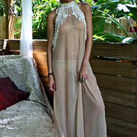 Bohemian Bridal Peacock Fringe Backless Nightgown Nude Sheer Mesh Lace Wedding Lingerie Honeymoon Sleepwear