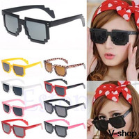On Sale Retro Trendy Novelty Unisex Cool Pixel Glasses Pixelated Style Square Sunglasses 9Colors Free Shipping