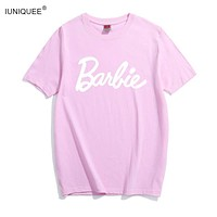 Barbie Letter Print Cotton T-Shirt Women Sexy Tumblr Graphic tee pink grey t shirt Casual tshirts Bae Tops Outfits tees Shirts