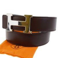 Auth HERMES Reversible Constance H Buckle Belt Leather Gold Black #70 89BD400