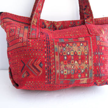 Vintage Tribal Tapestry Bag. Red Hand Woven Israeli Purse