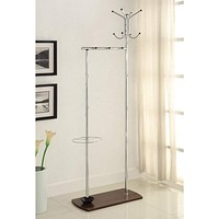 Elegant Metal Coat Rack With Umbrella Stand, Silver By Coaster