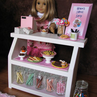 """Bakery Case with Cash Register - Sweet Shop Cafe / Bakery Set for American Girl / 18"""" dolls - MAY 2014 SHIPPING ONLY"""