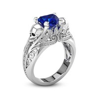 Hainon Heart CZ Crystal Silver Color Skull Promise Rings for Women Fashion Jewelry Wedding Engagement Punk Rings Gifts