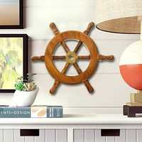 """6"""" Wooden Ship Wheel, Brown and Gold By Benzara"""