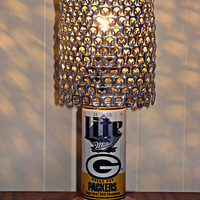 Vintage Miller Lite Green Bay Packers Superbowl 31 Champions Beer Can Lamp With Pull Tab Lampshade - The Mancave Essential