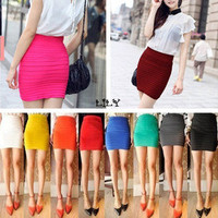 10 Candy Colors Sexy Women Mini Skirt Slim Seamless Stretch Tight Short Fitted