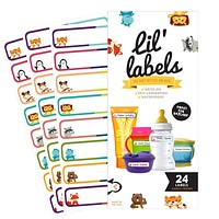 Bottle Labels, Write-On, Self-Laminating, Waterproof Kids Name Labels for Baby Bottles, Sippy Cup for Daycare School, Dishwasher Safe (Animal Friends), Made in The USA Animal Friends
