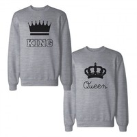 King And Queen With Crown Couple Sweatshirts
