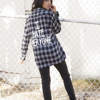 I Hate Everyone Custom Flannel (Navy/Grey or Burgundy/Black) - Jac Vanek