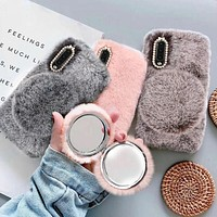 Warm Fluffy Faux Fur Samsung Phone Case With Mirror Compact