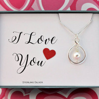 I love you necklace, Infinity necklace, sterling silver necklace on a card, Valentines gift, sister mother girlfriend gift, Swarovski pearl