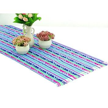 Mexican table runner, Aqua Blue Table runner 14x72 Inches, Fiesta Decoration, Cinco de Mayo, Boho Chic Decor, 14X72TRC700
