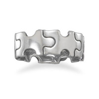 Puzzle - Sterling Silver puzzle piece design Comfort Fit Ring