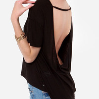 Short Sleeve Backless T-shirt