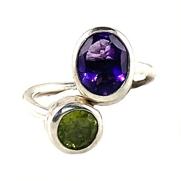 Peridot & Amethyst Adjustable Sterling Silver Fat Tuesday  Ring