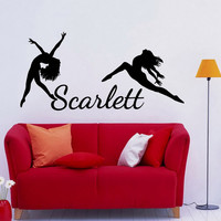 Name Wall Decal Dance Vinyl Decals Ballet Dancing Ballerina Acrobatics Gymnastics Wall Decal Custom Personalized Girls Name Decor T188