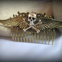 Skull hair accessories-skull and wings-Steampunk hair comb-hair fork-watch parts steampunk hair comb-gothic hair clip-angle wings hair comb