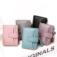Womens Wallet Genuine Leather Faux Jewel Tassel 5 Colors Credit Card Slots Fashion Billfold Purse FREE SHIPPING