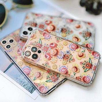 Boho Stitched Embroidery Print Clear Phone Case