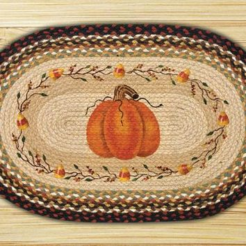 Pumpkin Candy Corn Oval Patch Rug