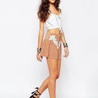 Rokoko High Waist Festival Shorts With Lace Applique Detail