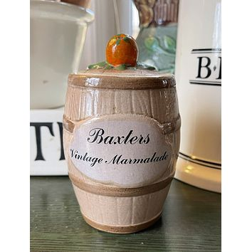 Vintage Scottish Black Transferware Advertising Baxters Orange Marmalade Jar