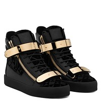 Giuseppe Zanotti Gz Coby Velvet Printed Leather High-top Sneaker With Metal Plate
