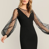 Dot Mesh Panel Lantern Sleeve Dress